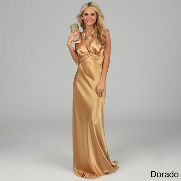Issue New York Women's Long V-neck Twisted Strap Evening Dress