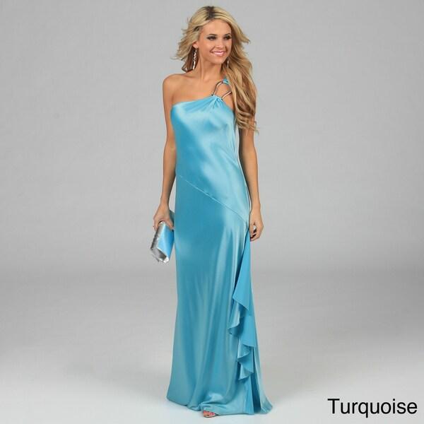 Issue New York Women's U-Ring Detail One-shoulder Long Evening Dress