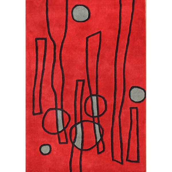 Alliyah Handmade Fiery Red New Zealand Blend Wool Rug (5' x 8')