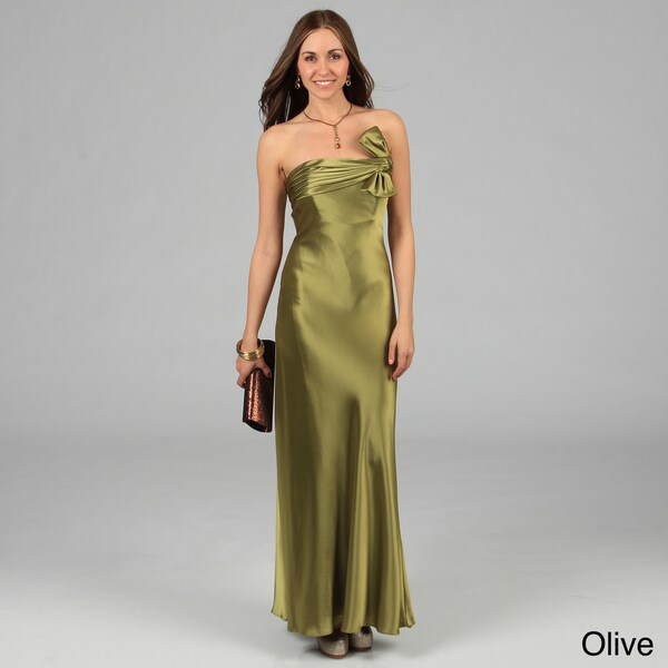Issue New York Women's Long Pleated Knot Detail Evening Dress