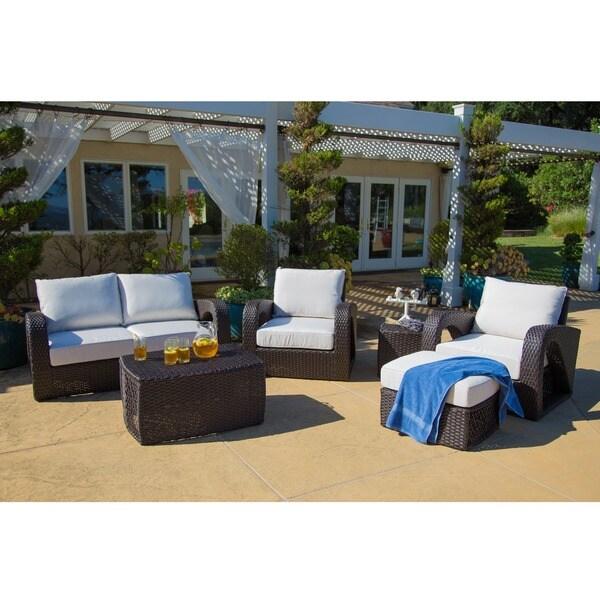 Corvus Settina Outdoor 6-piece Dark Brown Wicker Sofa Set with Sunbrella Cushions