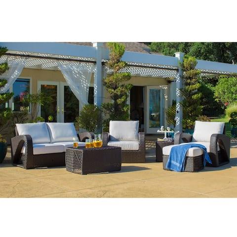 Corvus Settina Outdoor 6-piece Dark Brown Wicker Sofa Set with Sunbrella Cushions