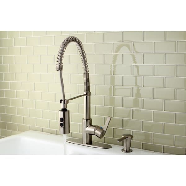 Satin Nickel Spiral Pull-down Kitchen Faucet