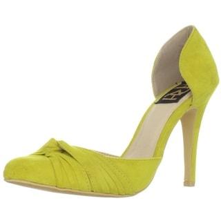Mustard Fahrenheit Women's 'CR-03' Knot Detail Pointed-Toe Pumps