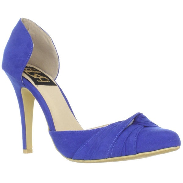 Fahrenheit Women's 'CR-03' Knot Detail Blue Pointed-Toe Pumps
