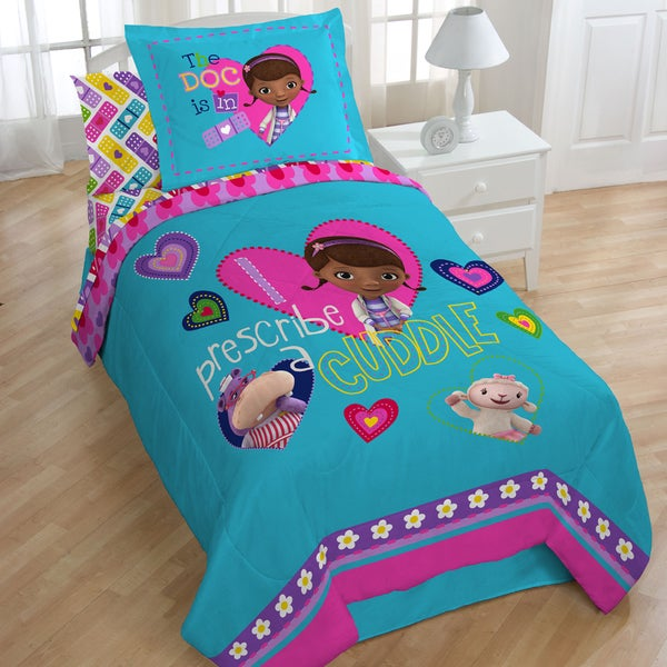 Doc McStuffins Caring Twin Size 4 Piece Bed In A Bag With Sheet Set