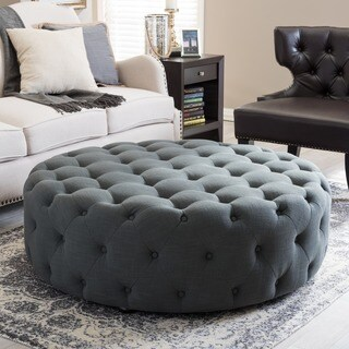 Gracewood Hollow Clare Contemporary Fabric Round Ottoman