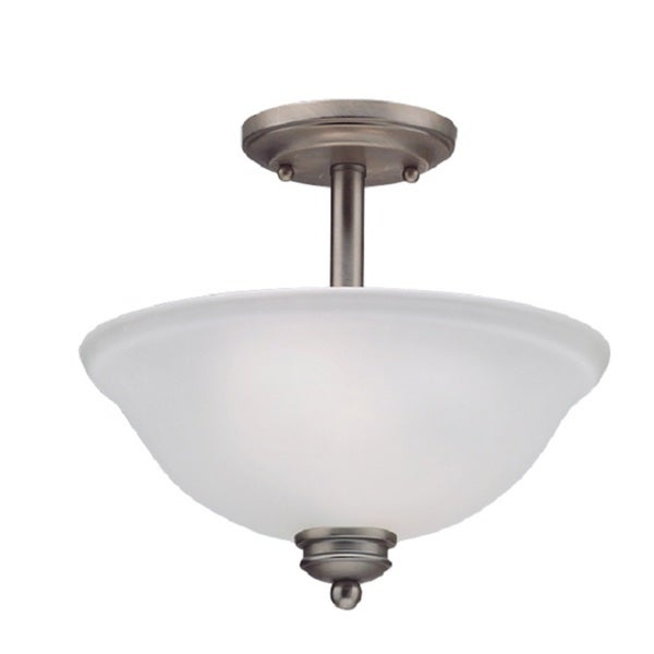 Casual 2-light Antique Pewter Semi-flush Fixture