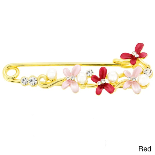 Goldtone Faux Pearl and Crystal Red and Pink Butterfly Pin