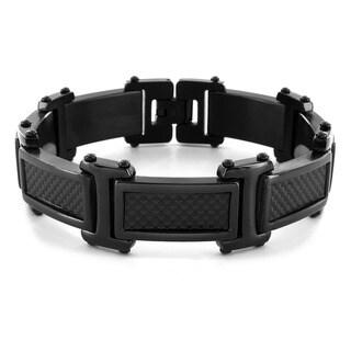 Crucible Black-plated Stainless Steel Men's Carbon Fiber Link Bracelet