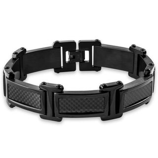 Crucible Black Plated Stainless Steel Carbon Fiber Link Bracelet
