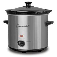 Continental Electric 2-Quart Slow Cooker Glass Lid Stainless Steel