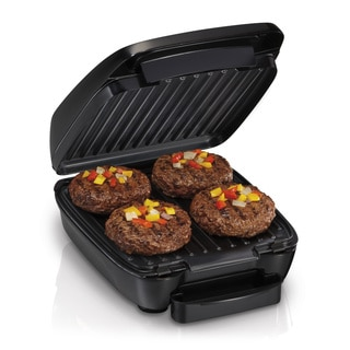Hamilton Beach 25357 Cast Aluminum 14-inch x 10-inch x 6.5-inch Non-stick Indoor Electric Grill