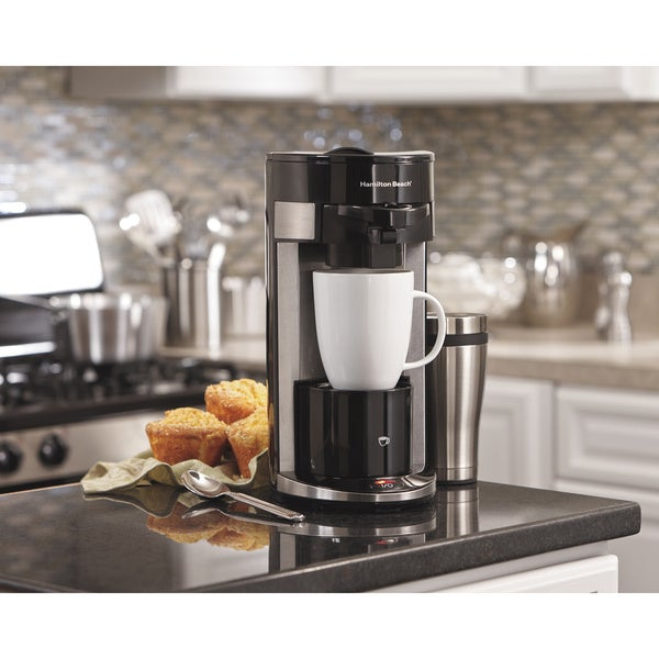 Hamilton Beach Black/Silver Stainless Steel Single-serve Coffee Maker