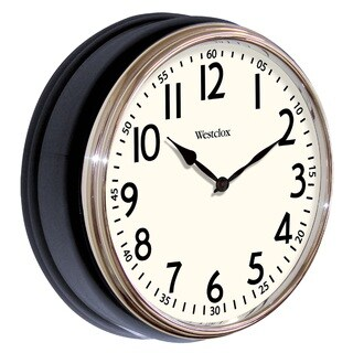 Westclox Vintage Deep Dish Black Wall Clock with Chrome Bezel