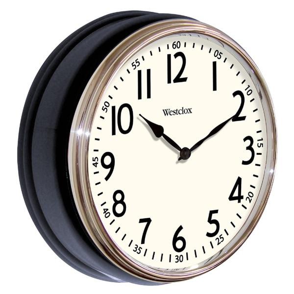 Westclox Vintage Deep Dish Black Wall Clock with Chrome Bezel