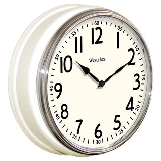 """12"""" White Traditional 1950's Style Wall Clock - 12"""