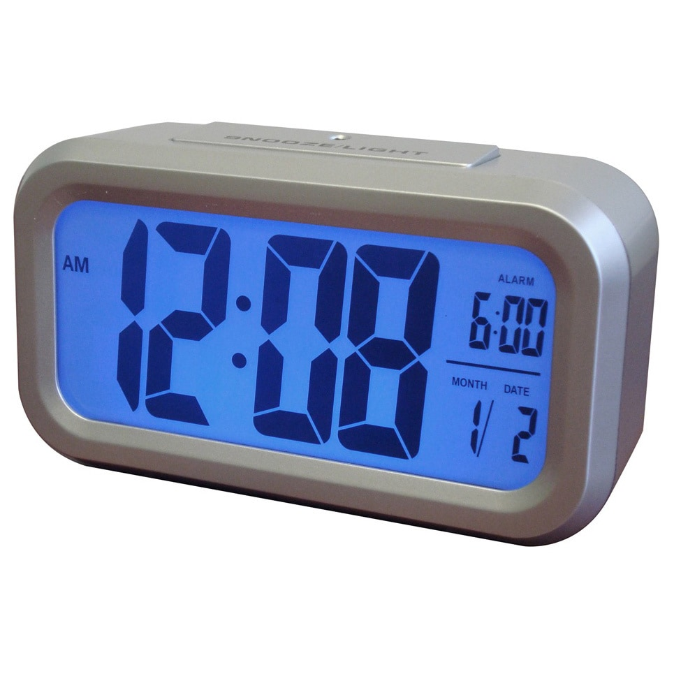 Westclox Smart LCD Blacklight Alarm Clock, Silver (Plastic)