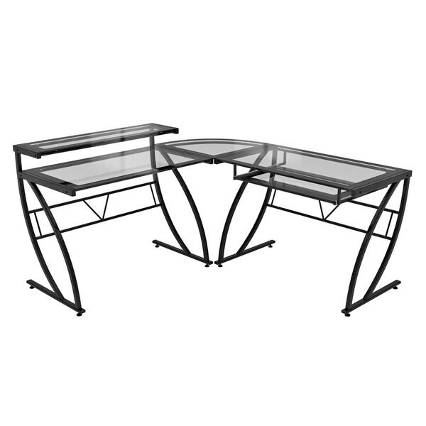 Feliz Glass L-Desk - Free Shipping Today - Overstock.com - 15092657