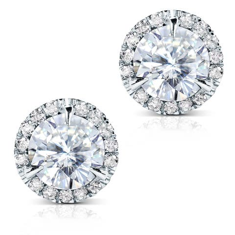 Annello by Kobelli 14k White Gold 3 1/4ct TGW Round 7.5MM Moissanite (GH) and Diamond Halo Stud Earrings