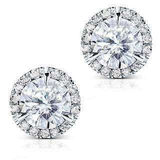 Annello by Kobelli 14k Gold Round-cut Moissanite and 1/4ct TDW Diamond Stud Earrings (G-H