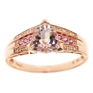D'yach 14k Rose Gold Morganite, Pink Sapphire and Diamond Ring
