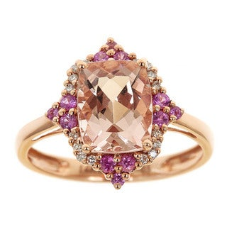 Anika and August 14k Rose-gold Emerald-cut Morganite, Pink Sapphire and Diamond Ring