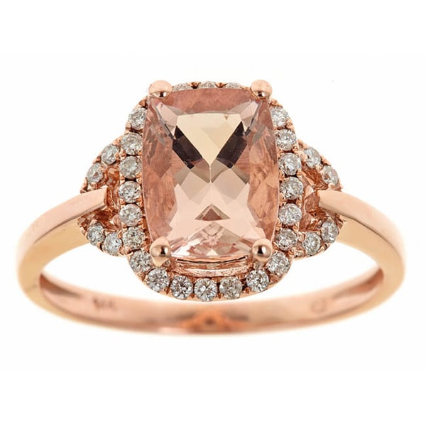 Anika and August 14k Rose Gold Morganite and 1/5ct TDW Diamond Ring (G-H, I1-I2)