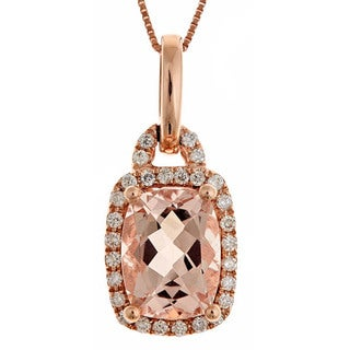 Anika and August 14k Rose Gold Morganite and 1/6ct TDW Diamond Necklace (G-H, I1-I2)