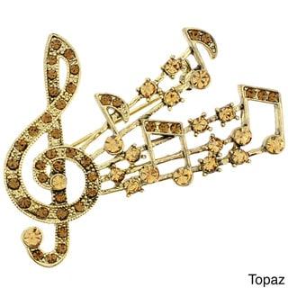 Goldtone Multi-colored Crystal Fuchsia Music Note Pin