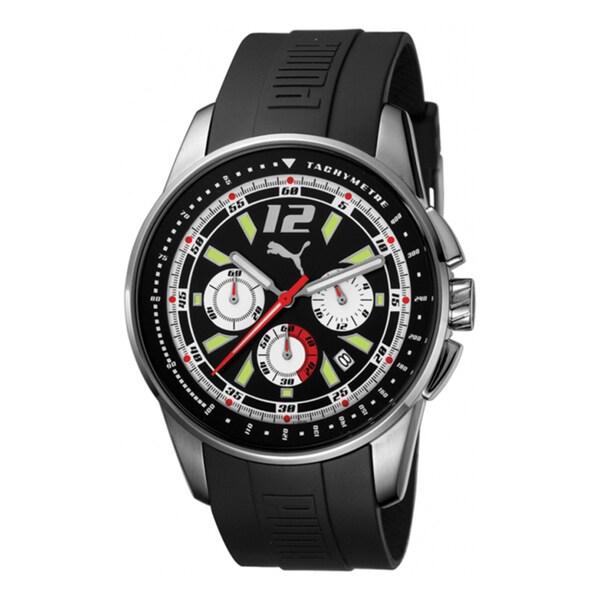 Puma Men's Motor Black Leather Quartz Watch