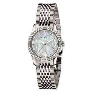 Gucci Women's G-Timeless Diamond Bezel Mother of Pearl Dial Watch