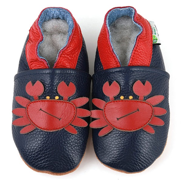 Red Crab Soft Sole Leather Baby Shoes