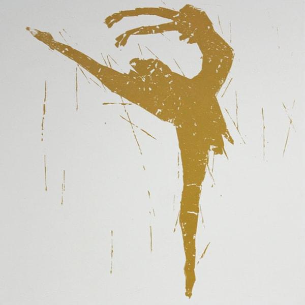 Art in Style 'Golden Ballerina on Toe' Hand-Painted Wall Art
