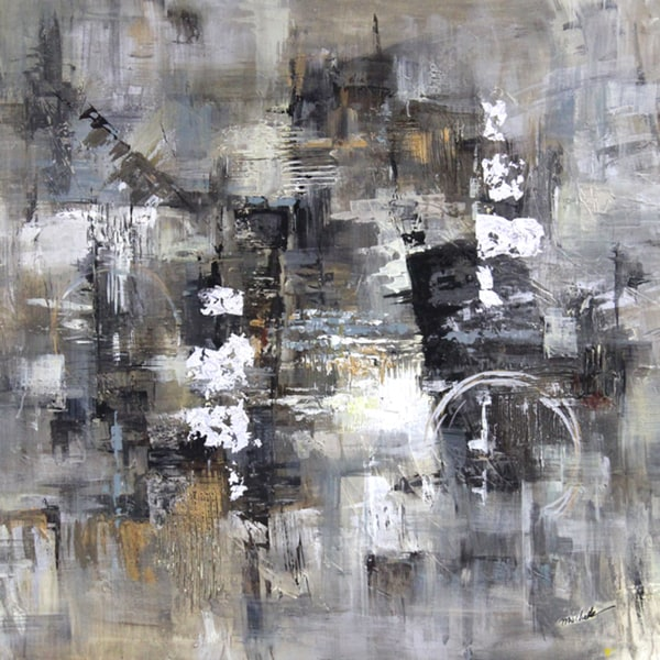 Shop Art In Style Abstract In Grays Hand Painted Wall