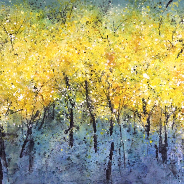 Art in Style 'Wispy Yellow Trees on Blue' Hand Painted Wall Art
