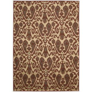 Kindred Damask Ivory/Red Rug (7'9 x 10')