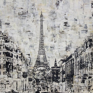 Art in Style 'La Tour Eiffel Paris' Black and White Hand-Painted Wall Art