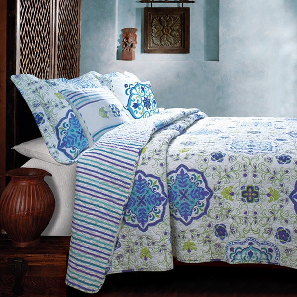 Greenland Home Fashions Esprit Blue Bonus 5-piece Quilt Set