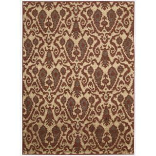 Kindred Damask Ivory/Red Rug (5' x 7')