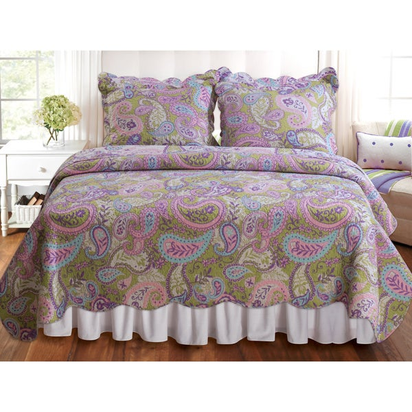Greenland Home Fashions Portia Paisley 3-piece Quilt Set