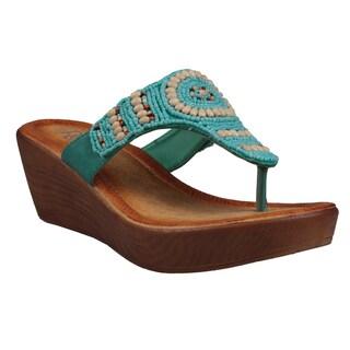 Refresh by Beston Women's 'Juno' Low Wedge Sandals
