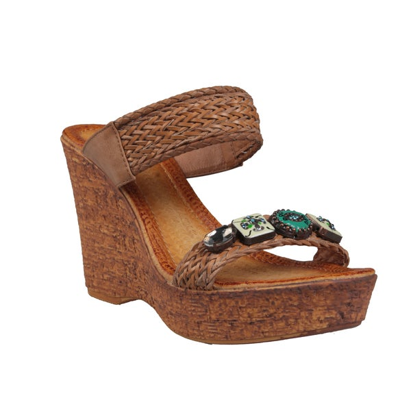 Refresh by Beston Women's 'Maysa-07' Camel Wedge Sandals