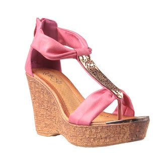 Refresh by Beston Women's Coral 'Maysa-05' T-Strap Wedge Sandals
