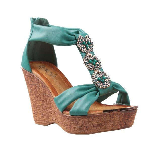 Refresh by Beston Women's 'Maysa-03' T-Strap Wedge Sandals