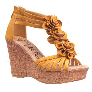 Refresh by Beston Women's 'Maysa-02' Mustard T-Strap Wedge Sandals