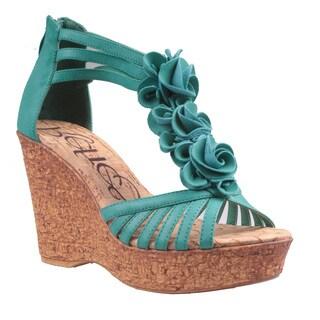 Refresh by Beston Women's 'Maysa-02' T-Strap Wedge Sandals