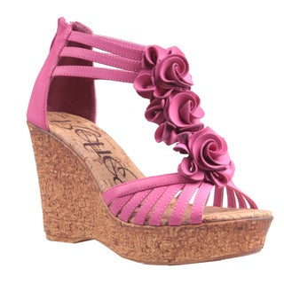 Refresh by Beston Women's 'Maysa-02' Fuchsia T-Strap Wedge Sandals