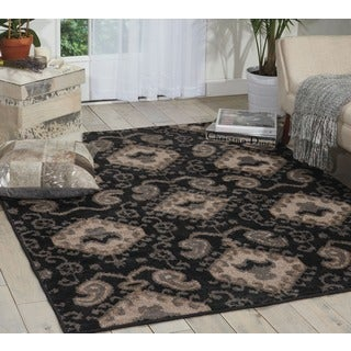 Kindred Ikat Print Black Area Rug (2'3 x 3'9)