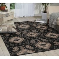 Kindred Ikat Print Black Area Rug (2'3 x 3'9) - 2'3 x 3'9